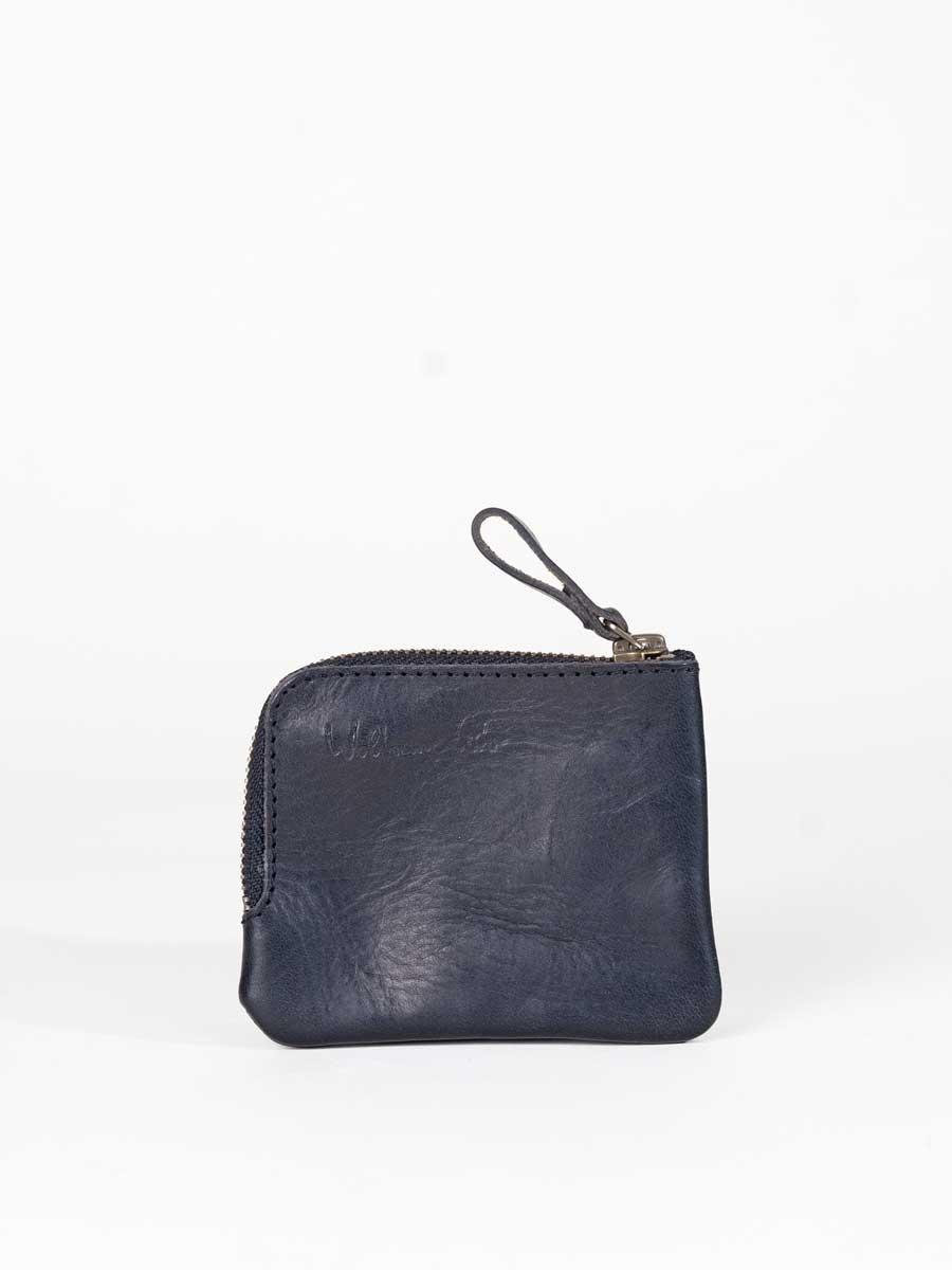 Leather Zip Pocket Wallet Black