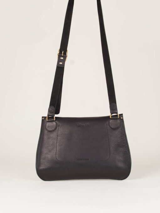 large leather cross body bag back veiw