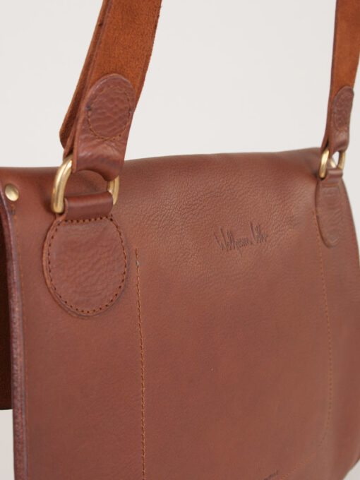 large leather cross body back veiw