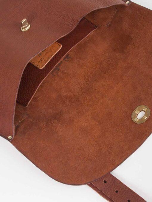 detail inside our handmade cross body leather bag