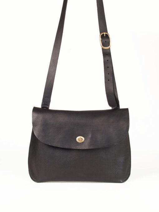 large black leather cross body bag