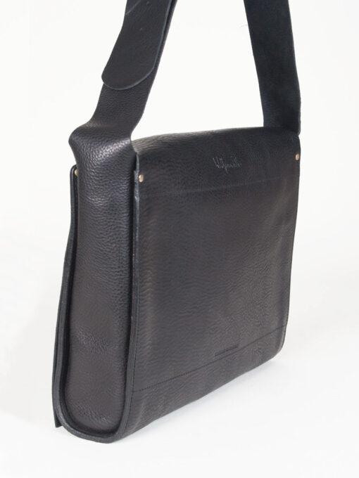 black leather messenger man bag