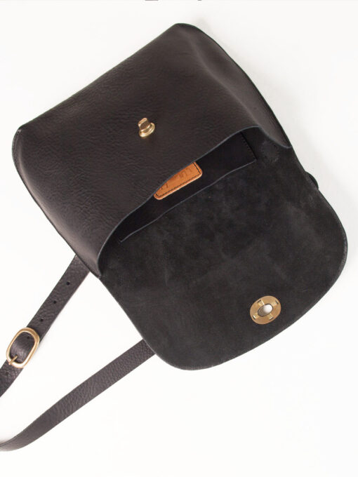Black leather bag open