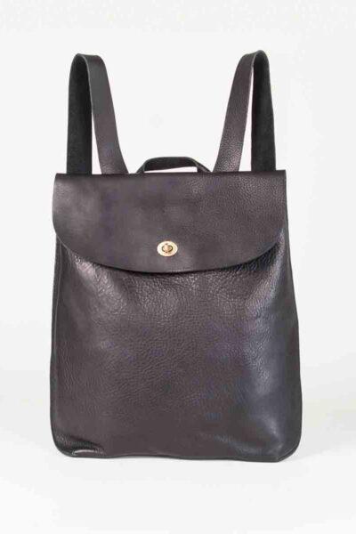 Handmade leather rucksack in black