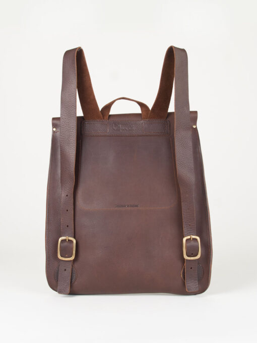 Back of a brown leather rucksack