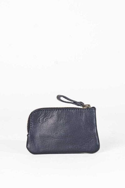 black leather key purse with corner zip