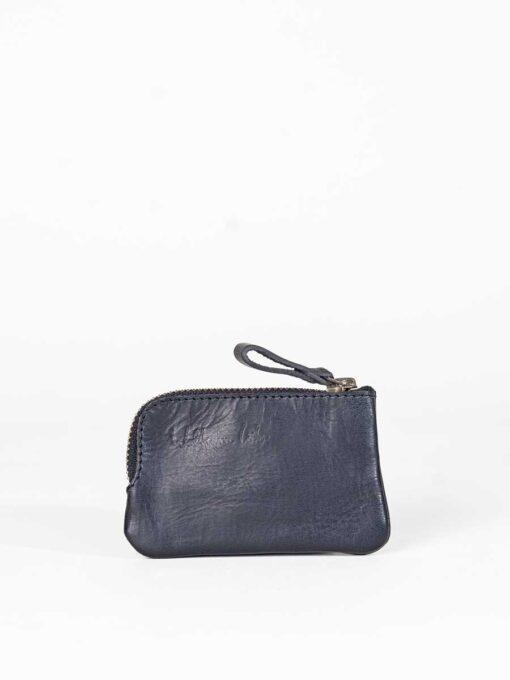 black leather key purse with corner zip