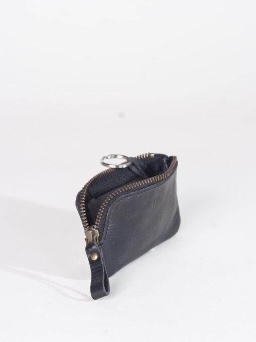 black key purse with corner zip
