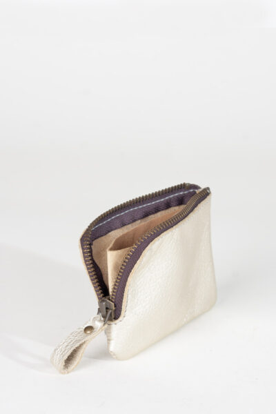 Matalic Zip leather wallet