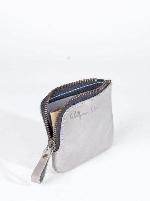 grey leather zip wallet