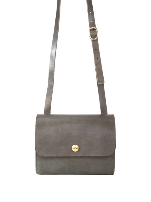 small leather cross body bag grey
