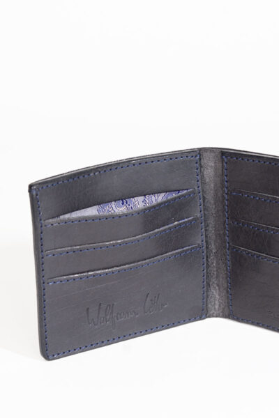 black handmade leather credit card wallet