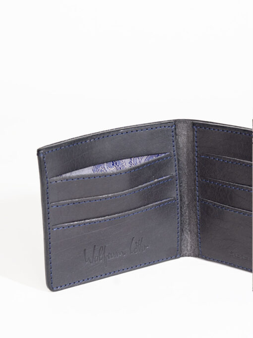black handmade leather credit card wallet
