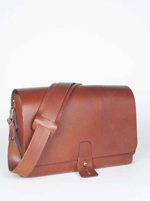 brown leather post bag
