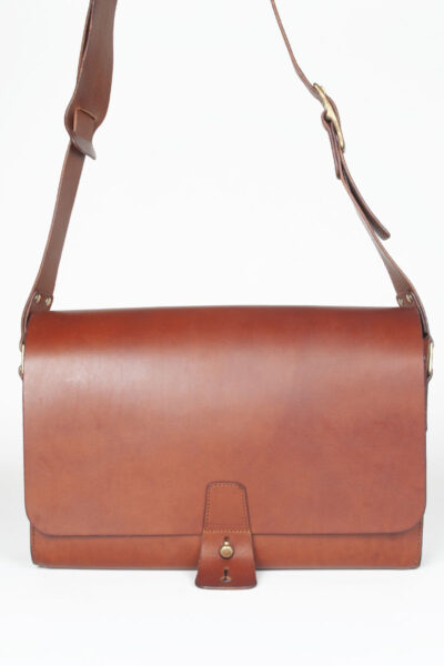 brown leather post bag