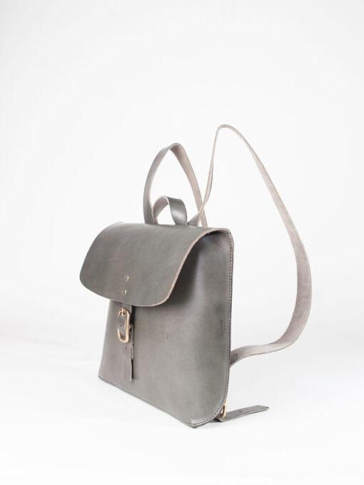 Grey leather rucksack
