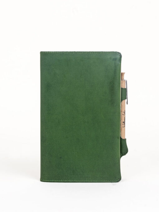 green leather note journal cover