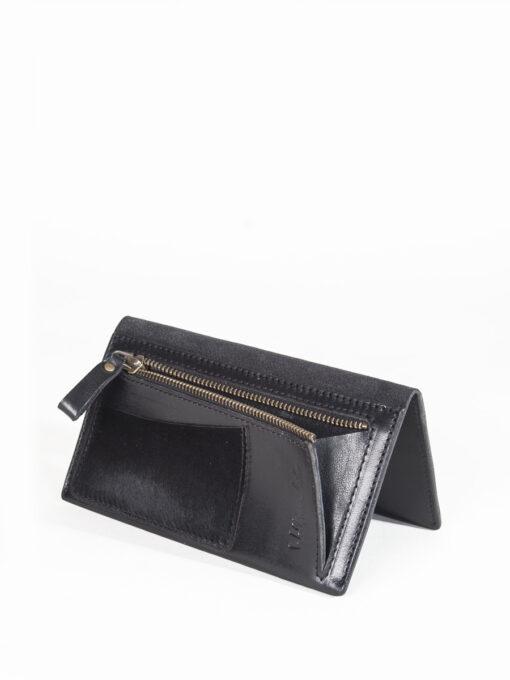 black leather wallet purse