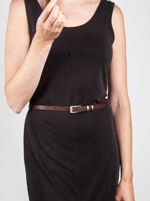 ladies brown handmade leather belt