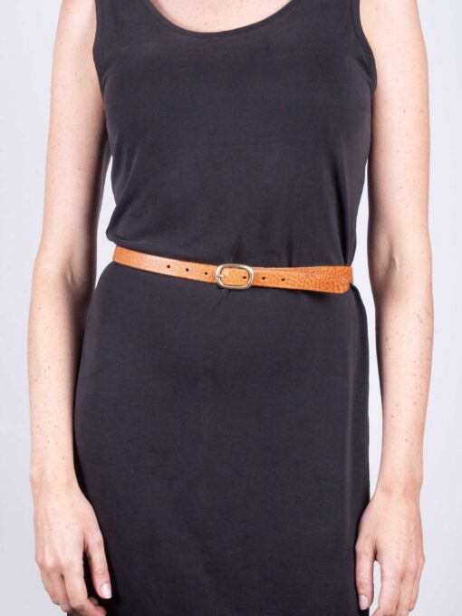 skinny ladies tan leather belt