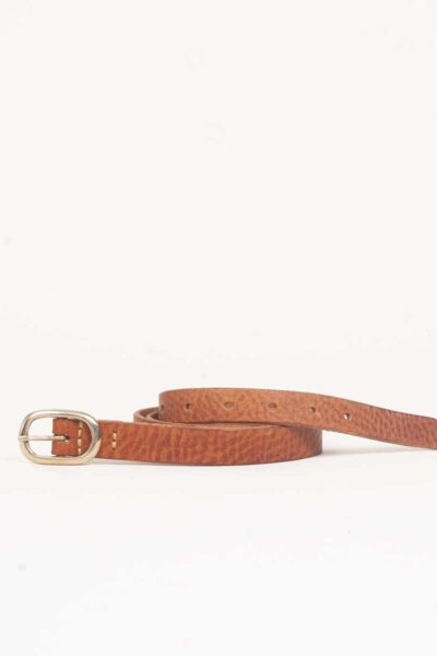 skinny tan leather belt