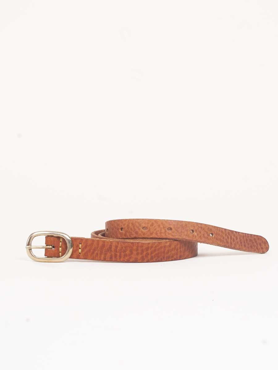 Skinny Belt Textured Tan