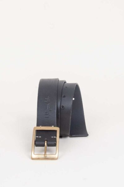 handmade black leather jeans belt