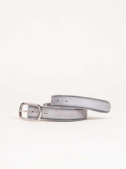 grey handmade leather belt with zip detail