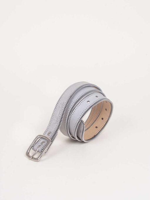 grey handmade leather belt with stitch detail