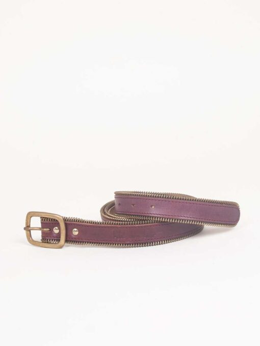 handmade jeans leather belt with zip detail
