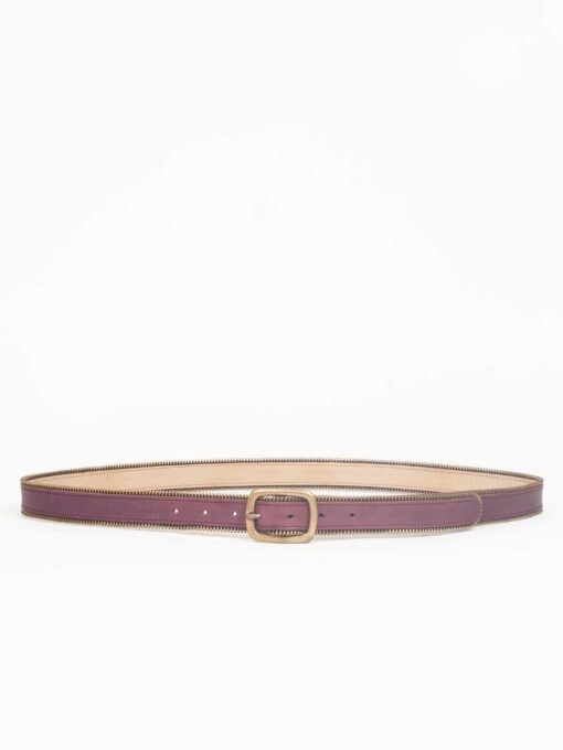 plum leather belt handmade jeans leather belt with zip detail