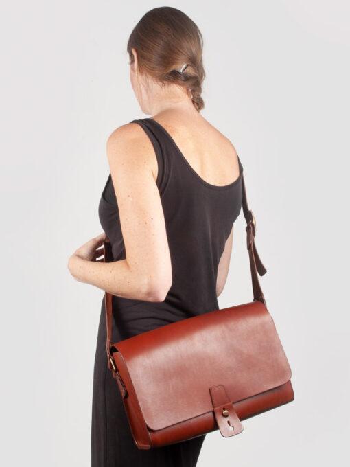 brown leather shatchel cross body bag