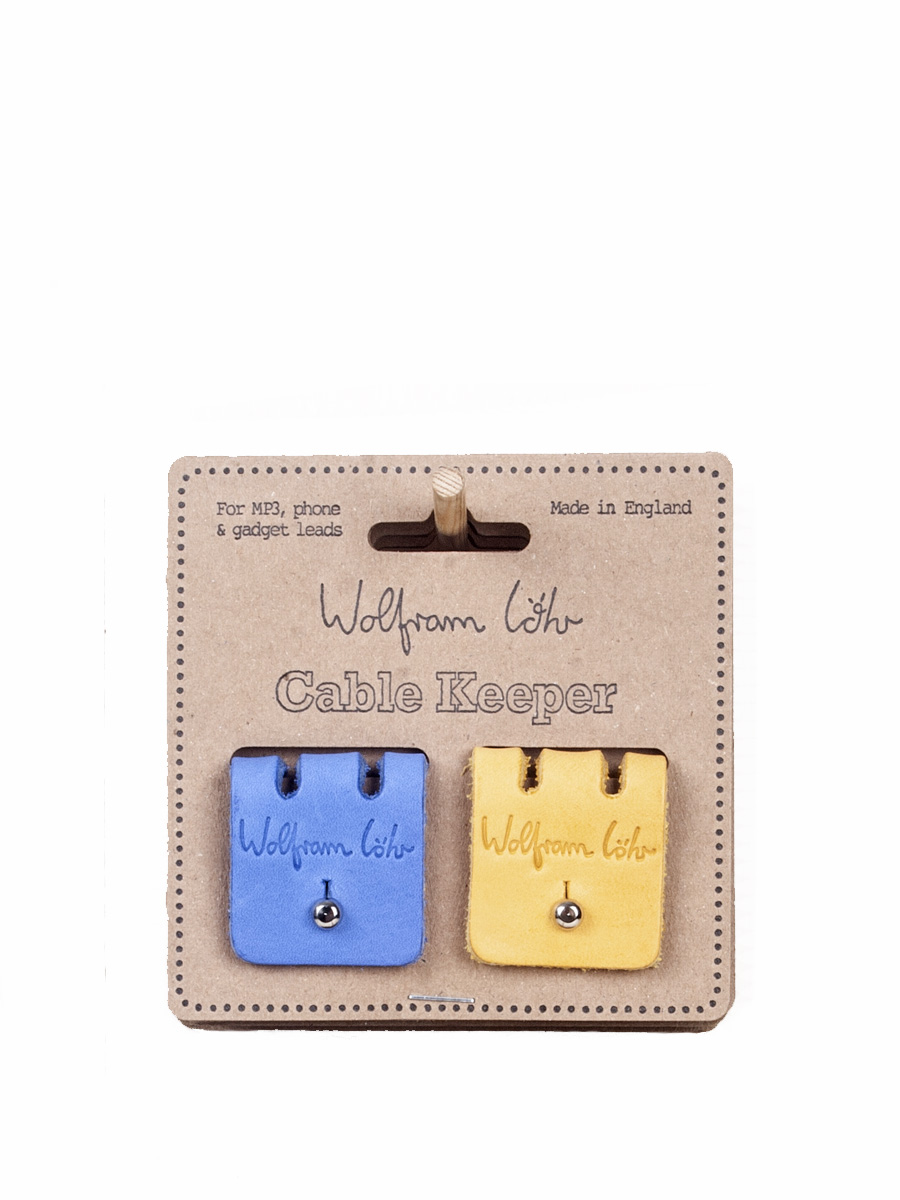 Leather Cable Keeper 9 Blue & Yellow