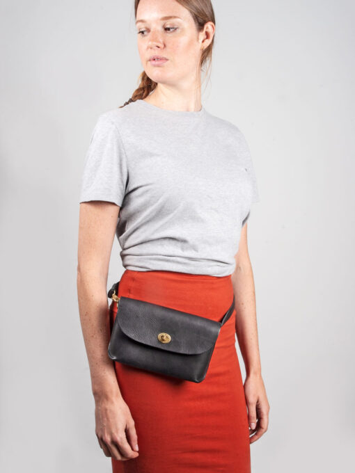 Black leather belt bag