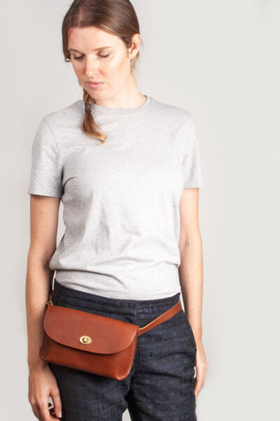 tan leather belt bag for women