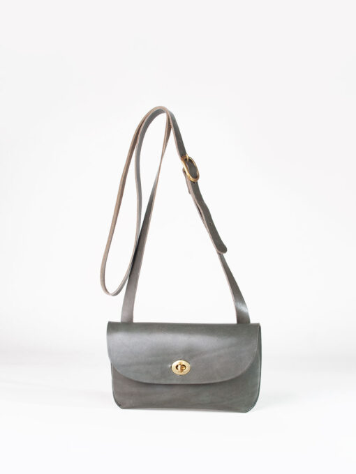 small grey leather cross body bag