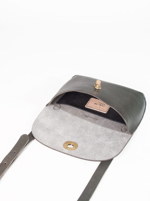 grey leather bag open