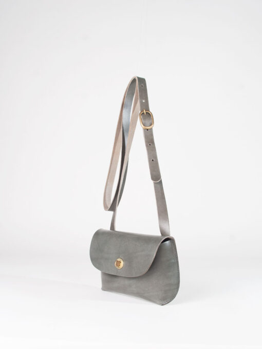 Grey leather cross body bag