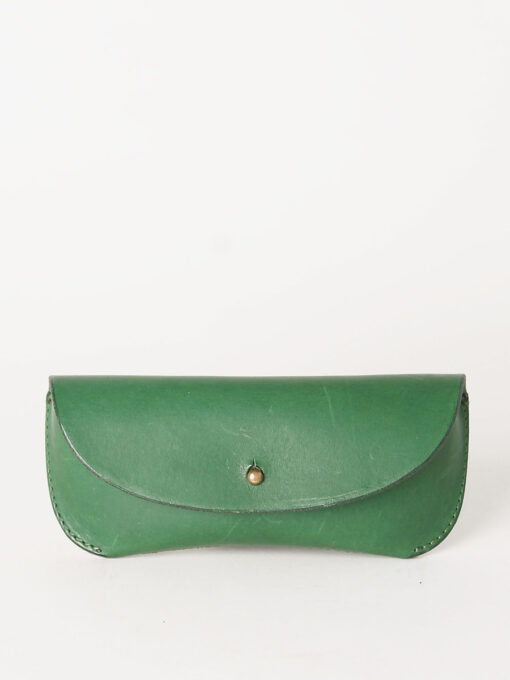 green leather glasses case