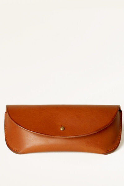 tan leather glasses case