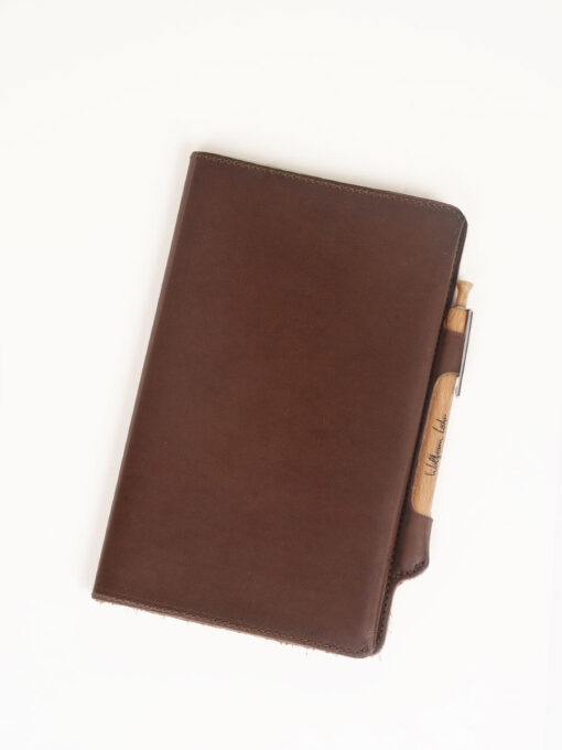 brown moleskine leather cover