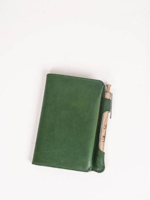 green leather journal notebook
