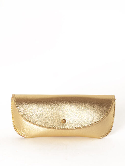 gold leather glasses case