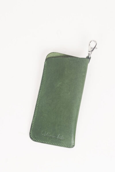 green leather glasses sleeve