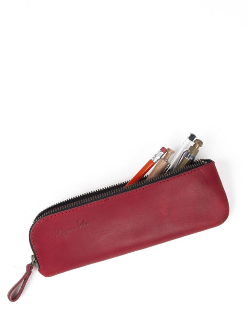 large leather pencil case in red