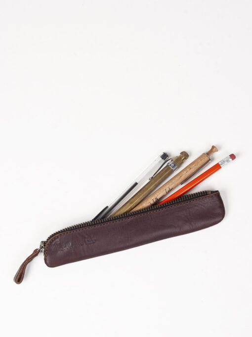 brown leather pencil case