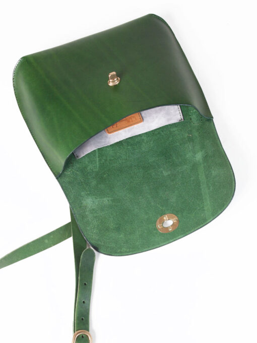 green leather cross body bag