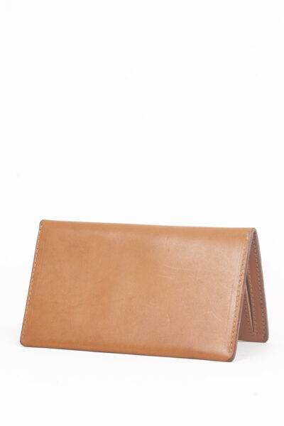 tan leather zip wallet