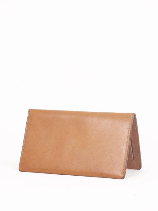 tan leather zip wallet