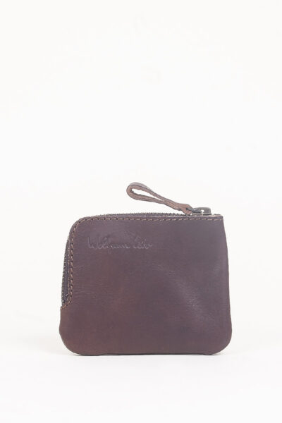 brown leather zip pocket wallet
